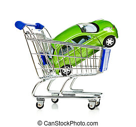 Shopping Cart with car - Shopping Cart with green car on...