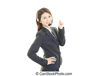 Smiling customer services operator - The call center...