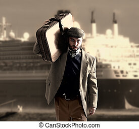 Emigrant with a transatlantic ship behind - Emigrant man...
