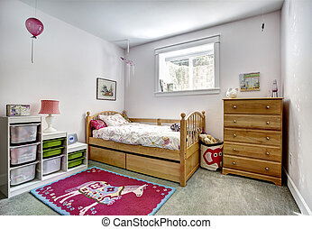 Kids room interior with storage baskets for toys - Cozy kids...