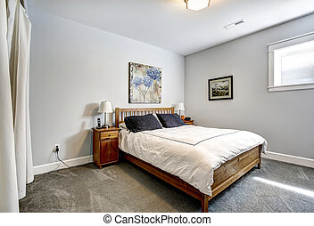 dormitorio, gris, tonos, de madera, Cama