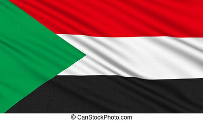 Sudanese flag, with real structure of a fabric