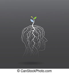 Think green concept Tree of green idea shoot grow on human...