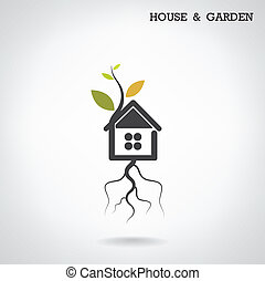 Green energy home concept ,house and garden symbol. Vector...