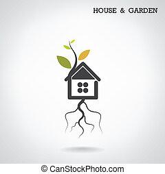 Green energy home concept ,house and garden symbol. Vector...
