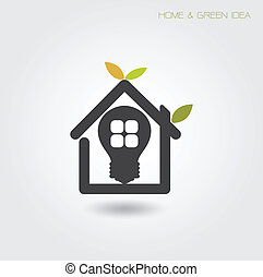 Green energy home concept ,house and garden symbol Vector...