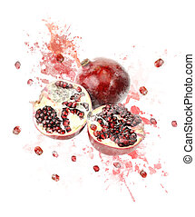 Watercolor Image Of Pomegranate - Watercolor Digital...