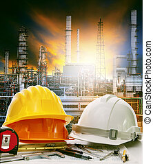 working table of engineer in oil refinery industry plant use...