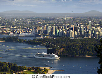 Vancouver - Cruise ship leaving Burrard Inlet, British...