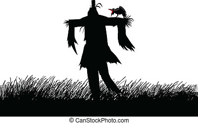 Scarecrow - Silhouette illustration of a scarecrow on a...