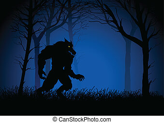 Werewolf - A Werewolf lurking in the woods, suitable for...