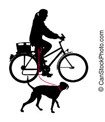 Woman on bicycle with dog on leash
