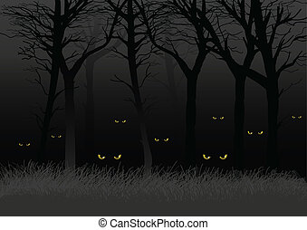 Dark Woods - Scary eyes staring and lurking from dark woods,...
