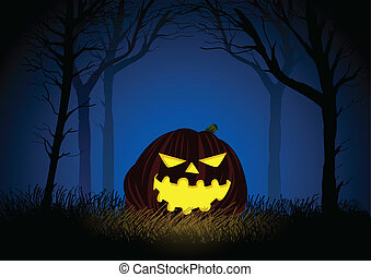Jack-o-lantern on woods background for Halloween theme