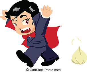 Dracula - Cute cartoon of Dracula afraid of garlic