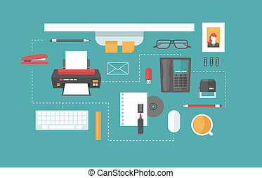 desk header flat icon style vector illustration