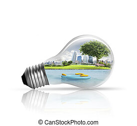 Electric light bulb and green energy city