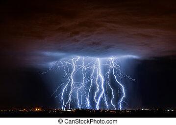 Tucson Lightning Composite - Lightning over Tucson, AZ...