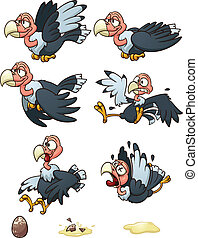 Cartoon vulture Vector clip art illustration with simple...
