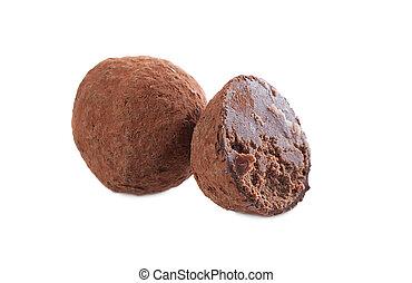 Studio shot of dark chocolate truffle, close-up - Image of...