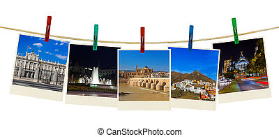 Spain travel photography on clothespins isolated on white...