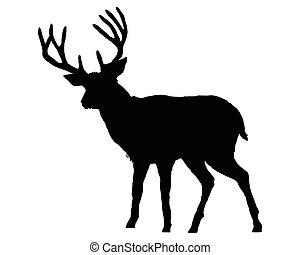 The black silhouette of a deer on white