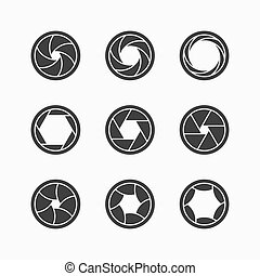 Camera shutter icons illustration