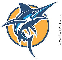 vector blue marlin  - vector stylish illustration marlin