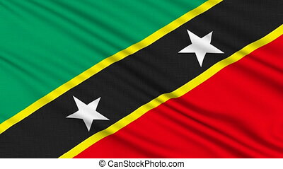 Saint Kitts and Nevis flag, with real structure of a fabric