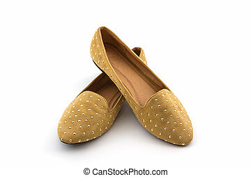 Brown flat shoes - Brown flat shoes on white background