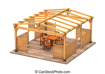 Rectangular wooden gazebo - illustration, Rectangular wooden...