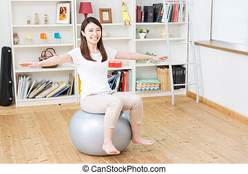 The woman who exercise - Beautiful young asian woman...