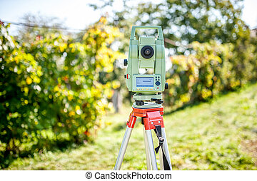 surveyor engineering equipment with theodolite and total...