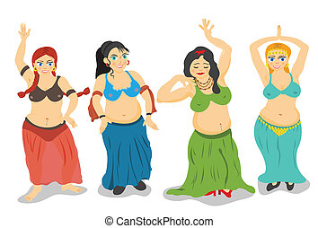 belly dancers vector - Four different cartoon belly dancers...