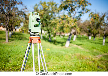 Total station surveying and measuring engineering equipment...
