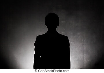 Business man silhouette close up