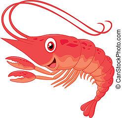 lindo, camarón, caricatura