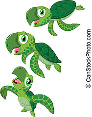 Cartoon sea turtle - vector illustration of Cartoon sea...