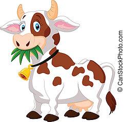 heureux, dessin animé, vache