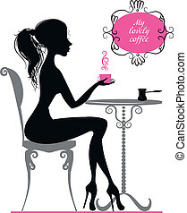 Silhouette of a girl with a coffee - Silhouette of elegant...