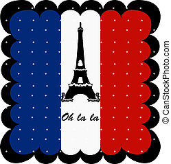 France flag and Eiffel Tower of Paris background