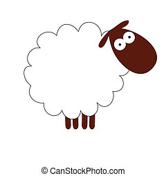 Funny white sheep isolated