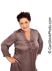 Portrait of Woman with Hands on Hips - Portrait of Plus Size...