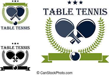 Table tennis emblems and symbols - Table tennis or ping pong...