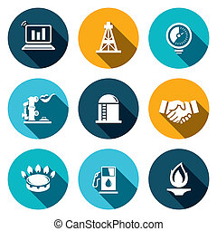 Gas trade vector icon set - Gas trade icon collection on a...