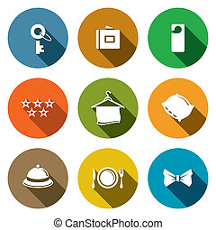 Hotel icon collection - Hotel icon set on a colored...