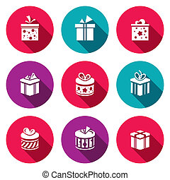 Gift icon set - Collection of gift boxes for any event
