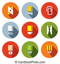 Stationery items icon set