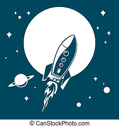 Space rocket flying in space with stars and planets.Vector...