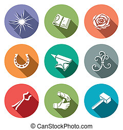 Forge Icon set - Forge icon collection on a colored...